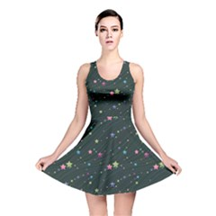 Black Abstract Olored Stars And Lines In The Night Sky Reversible Skater Dress by CoolDesigns