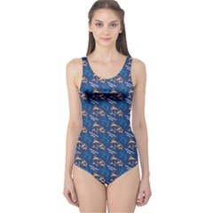 Blue Pattern With Dolphins Women s One Piece Swimsuit by CoolDesigns