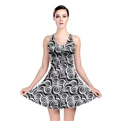 Black Flower Pattern With Black And White Roses Flowers Reversible Skater Dress