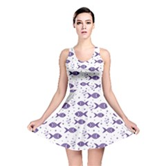 Blue Pattern Of Fish Stylish Design Reversible Skater Dress