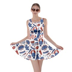 Blue New York Usa Set of Liberty Statue Skyscraper Fast Food Pattern Skater Dress by CoolDesigns