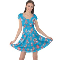 Blue Patriotic Hand Drawn Usa Pattern Cap Sleeve Dress by CoolDesigns