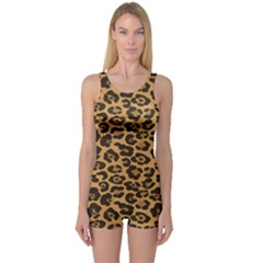 Brown A Yellow And Black Jaguar Spotted Repeatable Women s One Piece Swimsuit by CoolDesigns
