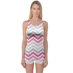 Pink Grunge Chevron Pattern Stylish Design Women s One Piece Swimsuit