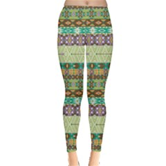 Green Aztec Geometric Pattern Leggings