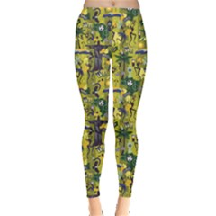 Green Pattern With Traditional Brazilian Items Design Element Leggings