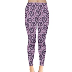 Purple Pattern With Pretzels Stylish Design Leggings by CoolDesigns