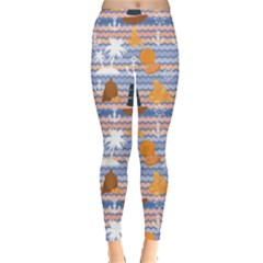 Blue Marine Palms Anchor Steering Wheel Pirate Flag Gold Pattern Leggings by CoolDesigns