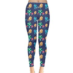 Blue Mushroom Plant Stylish Pattern Leggings