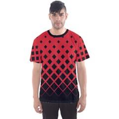 Red Gradient Rhombuses Men s Sport Mesh Tee