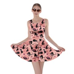 Pink Cats In Action Pattern Skater Dress