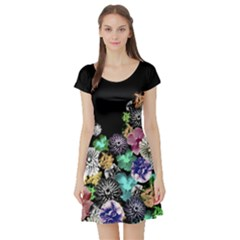 Colorful Vintage Floral Short Sleeve Dress by CoolDesigns