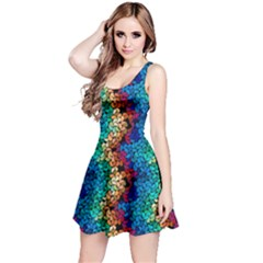 Dark Rainbow 2 Petals Sleeveless Skater Dress
