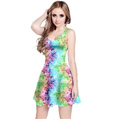 Colorful 3 Rainbow Petals Sleeveless Skater Dress by CoolDesigns