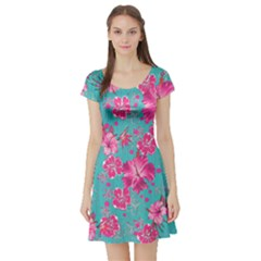 Mint Hawaii 2 Short Sleeve Skater Dress by CoolDesigns