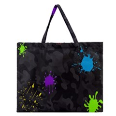 Black Camo Spot Green Red Yellow Blue Unifom Army Zipper Large Tote Bag by Alisyart
