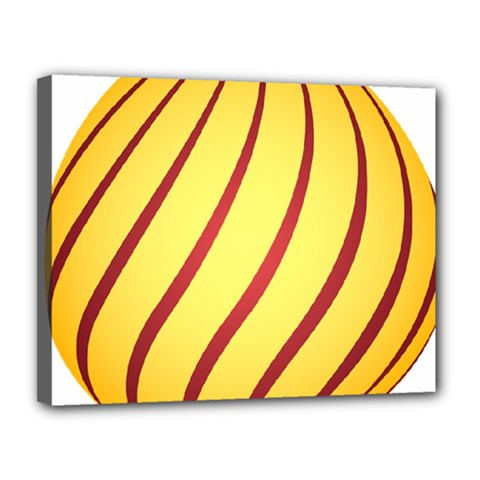 Yellow Striped Easter Egg Gold Canvas 14  X 11  by Alisyart
