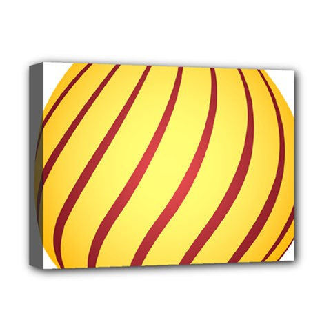 Yellow Striped Easter Egg Gold Deluxe Canvas 16  X 12   by Alisyart