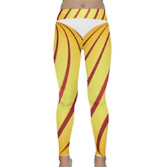 Yellow Striped Easter Egg Gold Classic Yoga Leggings by Alisyart