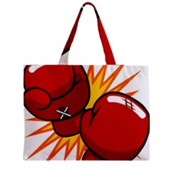 Boxing Gloves Red Orange Sport Medium Tote Bag by Alisyart