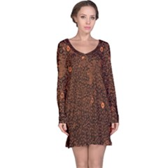 Brown Sequins Background Long Sleeve Nightdress