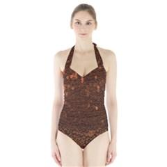 Brown Sequins Background Halter Swimsuit