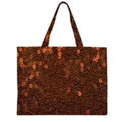 Brown Sequins Background Zipper Large Tote Bag by Simbadda