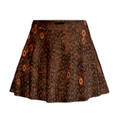 Brown Sequins Background Mini Flare Skirt