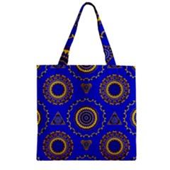 Abstract Mandala Seamless Pattern Zipper Grocery Tote Bag by Simbadda