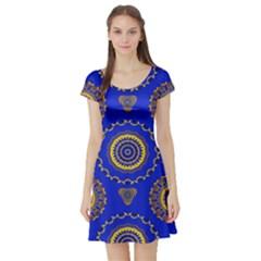 Abstract Mandala Seamless Pattern Short Sleeve Skater Dress