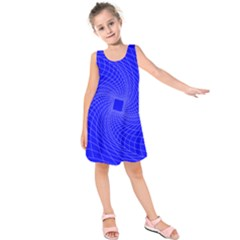 Blue Perspective Grid Distorted Line Plaid Kids  Sleeveless Dress by Alisyart