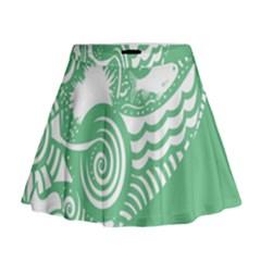 Fish Star Green Mini Flare Skirt