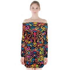 Chisel Carving Leaf Flower Color Rainbow Long Sleeve Off Shoulder Dress