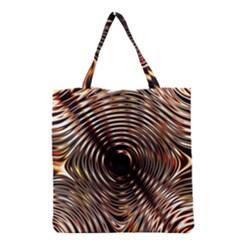 Gold Waves Circles Water Wave Circle Rings Grocery Tote Bag by Alisyart