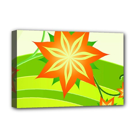 Graphics Summer Flower Floral Sunflower Star Orange Green Yellow Deluxe Canvas 18  X 12   by Alisyart