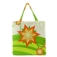 Graphics Summer Flower Floral Sunflower Star Orange Green Yellow Grocery Tote Bag by Alisyart