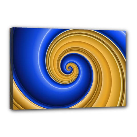 Golden Spiral Gold Blue Wave Canvas 18  X 12  by Alisyart