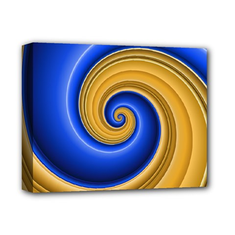Golden Spiral Gold Blue Wave Deluxe Canvas 14  X 11  by Alisyart