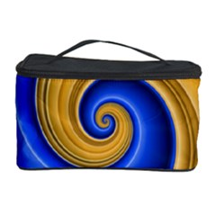 Golden Spiral Gold Blue Wave Cosmetic Storage Case by Alisyart