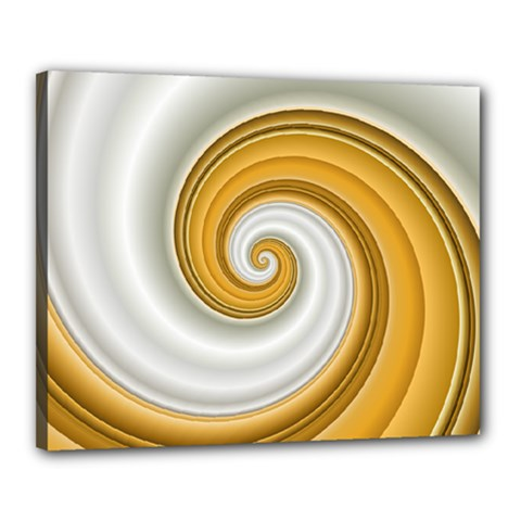 Golden Spiral Gold White Wave Canvas 20  X 16  by Alisyart