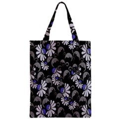 Flourish Floral Purple Grey Black Flower Zipper Classic Tote Bag by Alisyart