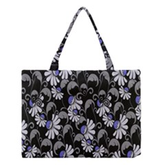 Flourish Floral Purple Grey Black Flower Medium Tote Bag by Alisyart