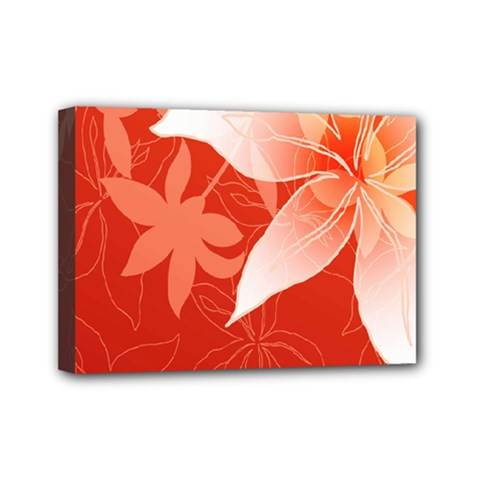 Lily Flowers Graphic White Orange Mini Canvas 7  X 5  by Alisyart