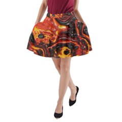 Lava Active Volcano Nature A Line Pocket Skirt by Alisyart