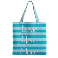 Love You Mom Stripes Line Blue Zipper Grocery Tote Bag by Alisyart
