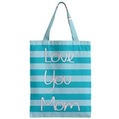 Love You Mom Stripes Line Blue Zipper Classic Tote Bag by Alisyart