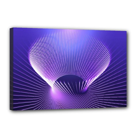 Lines Lights Space Blue Purple Canvas 18  X 12  by Alisyart