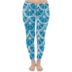 Lime Blue Star Circle Classic Winter Leggings by Alisyart