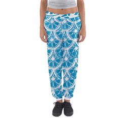 Lime Blue Star Circle Women s Jogger Sweatpants by Alisyart