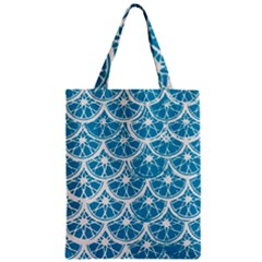 Lime Blue Star Circle Zipper Classic Tote Bag by Alisyart